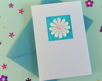 Happy Birthday Card for her, hand made greeting card girlfriend, bday card mum, modern b-day card best friend, sister, wife, turquoise