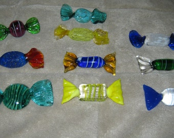 10 (Ten) Colorful Hand Blown Glass Candies