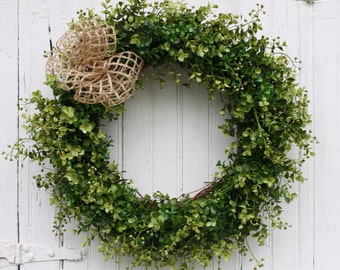 Boxwood Wreath, Door Wreath, Farmhouse Decor, Green Wreath, Front Door Wreath, Outdoor Wreath, Year Round Wreath, All Season Wreath, Wreaths