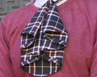 Jabot Neckwear in Navy Plaid