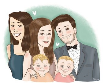 Family custom portrait - illustration
