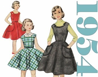1950s Girls Dress Pattern 1950s Jumper SIMPLICITY 4774 Girls Size 7 Dress Pattern Vintage Jumper Retro Jumper Pattern Girls Rockabilly Dress