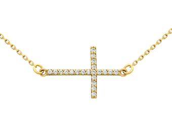 Sideways cross necklace. Sterling silver sideways cross. Cz cross necklace. Gold plated silver sideways cz cross necklace. Rose gold cross.