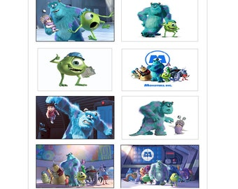 8 PERSONALIZED Printed Monsters Inc. Stickers, favors, labels, rewards, decals, Custom Made