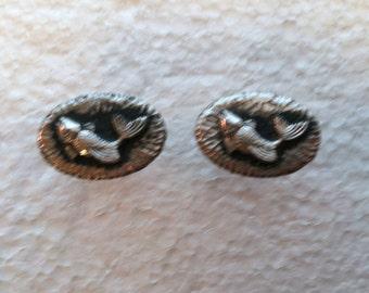 Vintage Cufflinks Silvertone Fish Jumping