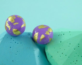 Polymer clay stud earrings/ purple with gold leaf & silver-plated findings/ round stud earrings/ statement earrings/ metallic
