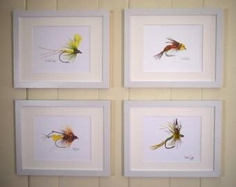 Fly Fishing Watercolor Prints, Fishing Gifts, Fly Fishing Decor, Fishing Lure, Trout Flies, Fishing Fly