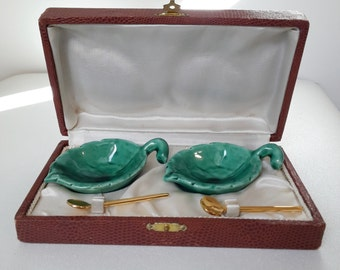 vintage french ceramic salt and pepper cellars