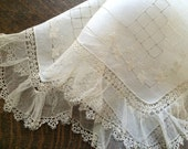 Off-White Hanky~Net Lace & Tatted Edges~Bride~2 Layers of Hand Tatting~Drawn-Thread Needlework~Embroidery~Vintage Linen~Hanky~Hankie Art