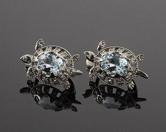 Turtles earrings, Unique earrings, Unusual earrings, Topaz earrings, Blue topaz earrings, Silver earrings, Women earrings, Fine earrings