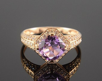Amethyst ring, Multistone ring, Gold amethyst ring, Square shape ring, Purple stone ring, February birthstone, Rose gold ring, Halo ring