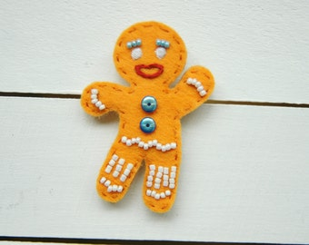 Cookie Brooch GINGY Textile Brooch / Felt Brooch / Bead Brooch
