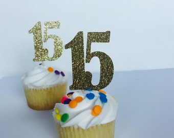 15 Gold glitter number Cupcake topper. Quinces. Sweet sixteen party. Food picks.