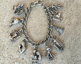 Old Vintage Silver-Tone Coro Ten Commandments Religious Charm Bracelet C18