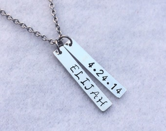 Personalized Name Necklace, Name and Date Necklace, Hand Stamped Necklace, Hashtag Necklace, Bar Necklace, Mother's Day Gift