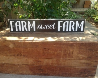 FARM sweet FARM - Distressed, Wall Decor, Word Art, Hand Painted, Wood Sign