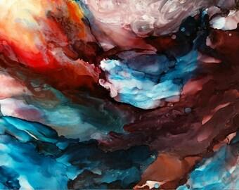 Alcohol inks, alcohol ink painting, original alcohol inks, ink painting, alcohol ink art, landscape painting, original painting, ocean