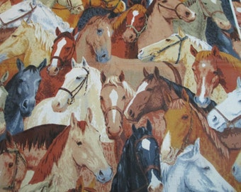 100 % Cotton Fabric Packed Horse Heads Tan Beige Quilting Crafting 45 x 40