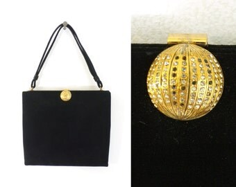 50s coblentz bag, black faux suede handbag, 1950s perma suede clutch bag, mad men, black evening bag, 50s purse, gold rhinestones
