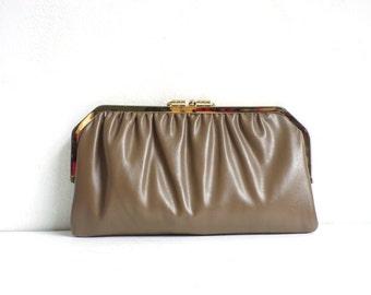 60s cowhide clutch, taupe brown leather clutch, gold metal frame top clutch bag, mad men handbag, 1960s purse, minimalist fancy evening bag