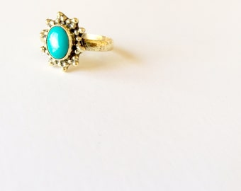 Solar Flare Ring - Festival Wear - Music Festival Jewelry - Turquoise Ring - Brass Jewelry- Stackable ring - Bohemian - Boho Ring