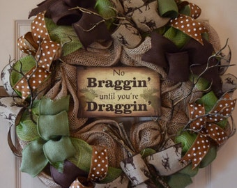 Deer Hunter Burlap and Mesh Wreath with Antler Branches; Rustic Wreath; Outdoorsy Wreath; Country Primitive Wreath; Brown and Green Wreath