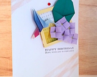 Handmade Origami Bird And Flowers Birthday Card