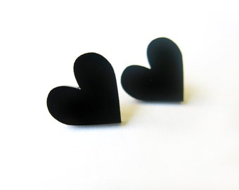 Earrings black hearts in plexiglas (limited collection)