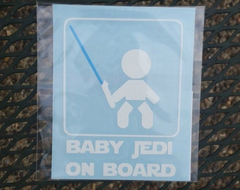 Baby Jedi On Board - Baby on Board Decal - Car Decal - Star Wars Decal - Van Decal - Truck Decal - SUV Decal - Starwars - Lightsaber - Jedi