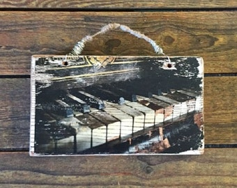 """Rustic, Handcrafted, Repurposed Timber """"Piano"""" Shabby Chic Wall Hanging"""