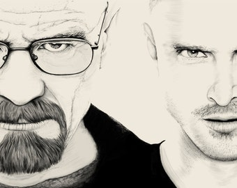 breaking bad portrait walter white jesse pinkman black and white poster art print