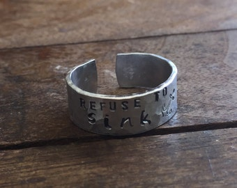 """Refuse to Sink - 1/4"""" Single Wrap Hand Hammered Ring Texture Artisan Handmade Custom Jewelry Sizes 3-14 Copper Brass Silver Aluminum"""