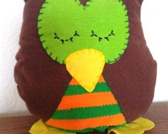 Striped Owl Plushie: Brown, Green & Orange