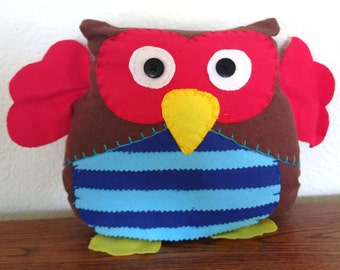 Striped Owl Plushie: Brown, Red & Blue
