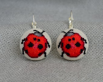 Embroidered Ladybug Cross Stitch Earrings Embroidered Jewelry Unique Earrings Handmade Ladybug Round Earrings Gift Red Earrings Bugs