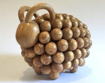 Vintage Aarikka Finland Passi Ram Wooden Sculpture | Aarikka Sheep | Modern Wood Sculpture | Kaija Aarikka Design