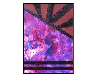Abstract original ACEO ATC Miniature Painting Art Card Pink Red Purple Modern Artwork Caerys Walsh - Far