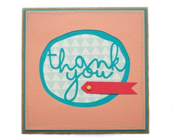 THANK YOU Blank Handmade Card