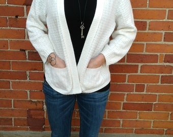 Vintage White Sweater / White Buttonless Cardigan / Simpsons Sweater