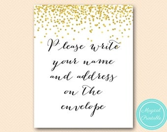 Please write your name and address on the envelope signage, Wedding Signage, Printable, Gold confetti Bridal Shower BS46 SN32