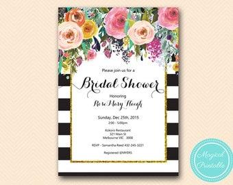 Shabby chic Floral Bridal Shower Invitation, Baby Shower Invitation, Personalized Printable Invitation BS402 TLC402