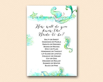 How Well do you know the Bride Game,Beach, Mermaid Bridal Shower Game Printable, Bachelorette, Wedding Shower BS446