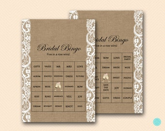 Prefilled Bridal Shower Bingo Cards, Bridal Words Bingo, Burlap Bridal Shower Games, Burlap and Lace Bridal Shower Games, BS16