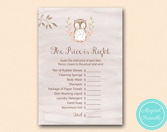 Owl Price is Right, Bridal Shower Price Guessing Game, Owl, Woodland Bridal Shower Game Printable,  Wedding Shower BS401