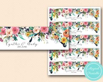 Floral Bridal Shower Bottle Labels, Wedding Water Bottle Labels, Custom Labels, Baby Shower Labels, Wedding  BS138 tlc140 bs402 tlc402 MP