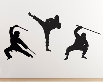 Ninja Martial Arts Wall Stickers - Pack of 3 Ninja Warriers / Ninjutsu fighters