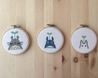 "Totoro Cross Stitch (Set of Three) - 4"" - Hayao Miyazaki"
