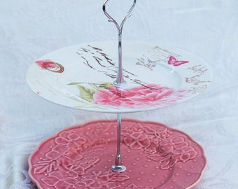 Pink Two Tier Cake Stand