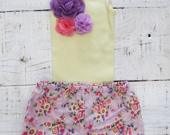 Baby girl singlet heaven sent handmade baby girl singlet shorts shorties set gift yellow flower floral negle Image collections