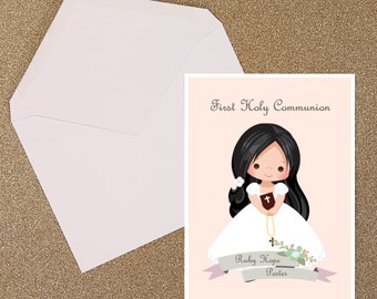 Holy Communion Cute Girl Invitation